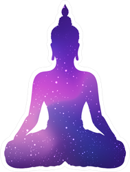 Silhouette Of Sitting Buddha With Space And Stars Sticker