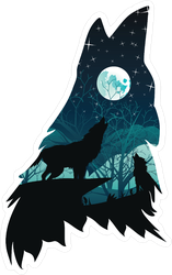 Silhouette Of The Wolf Howling With Night Forest Sticker