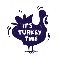 Silhouette Of Turkey And Lettering Sticker
