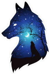 Silhouette of Wolf Moon and Stars Double Exposure Sticker