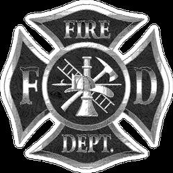 Silver Fireman Maltese Cross Engraved Sticker