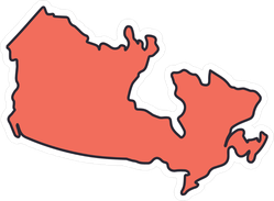 Simple Map Of Canada.Simple Canada Map Icon Sticker