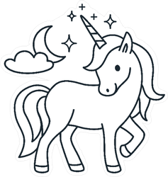 Simple Coloring Book Unicorn Sticker