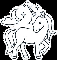 Simple Coloring Book Unicorn Sticker