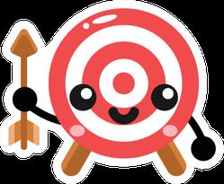 Simple Cute Arrow And Bullseye Character Sticker