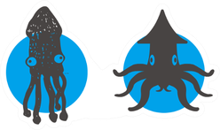 Simple Illustration Of Squid Icon Sticker