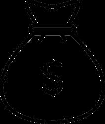 Simple Money Bag Icon Sticker