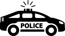 Simple Police Car Icon Sticker