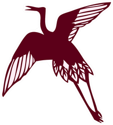 Simple Silhouette Material Of Crane Maroon Sticker