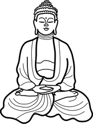 Simple Sitting Buddha Statue Sticker