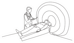 Single Continuous Drawing MRI Procedure Sticker