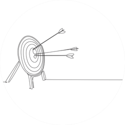 Single Continuous Line Drawing Of Archery Target Sticker