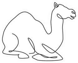 Single Continuous Line Drawing Of Desert Arabic Camel Sticker