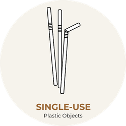 Single-use White Plastic Straws Sticker