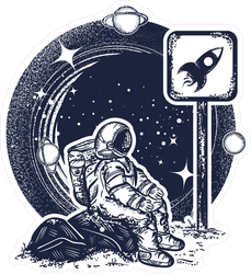 Sitting Astronaut In Space Sticker