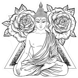 Sitting Buddha Over Ornate Rose Flower Sticker