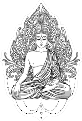 Sitting Buddha Statue Over Ornate Elements Sticker