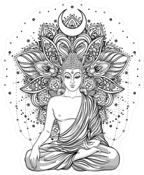Sitting Buddha Statue Over Ornate Mandala Sticker
