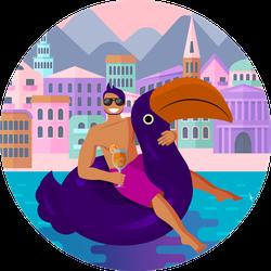 Sitting In Trendy Swimming Circle Sticker