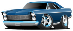 Sixties Blue Muscle Car Illustration Sticker