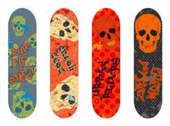 Skateboard Pack With Graffiti Tags And Skulls Sticker