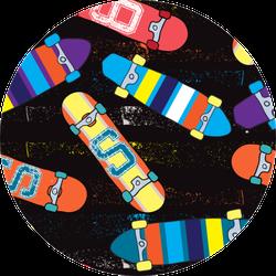 Skateboard Pattern On Black Sticker