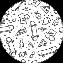 Skateboard Pattern Sticker