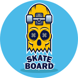 Skateboard Skull Design Sticker