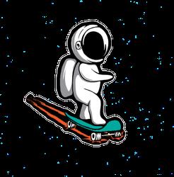 Skateboarding Astronaut Sticker
