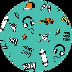 Skateboarding Doodle Illustration Sticker
