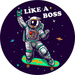 Skating In Space Like A Boss Sticker