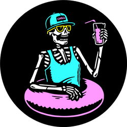 Skeleton Chilling With Cocktail And Swim Ring Sticker