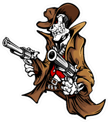 Skeleton Cowboy with Pistols Sticker