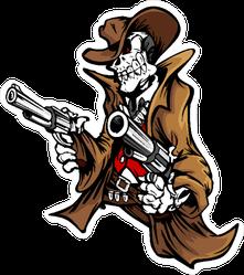 Skeleton Cowboy with Pistols Sticker