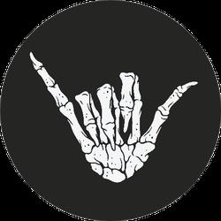 Skeleton Hand Making Hang Loose Shaka Sign Sticker
