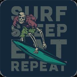Skeleton Surfing Sticker