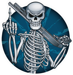 Skeleton with Shotgun Sticker