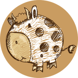 Sketch Doodle Cow Animal Sticker