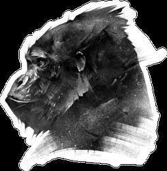 Sketch Head Of A Monkey Gorilla Sticker