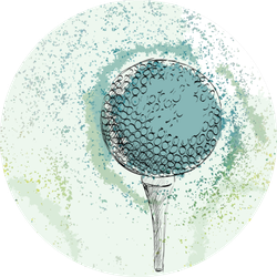 Sketch Of A Golf Ball Hand Drawn Illustration On Blue Sticker