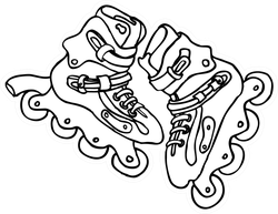 Sketch Of Roller Skates Sticker