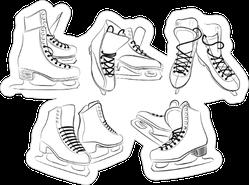 Sketch Of The Figure Skates Sticker