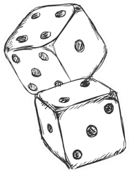 Sketch Of Two Dice Sticker
