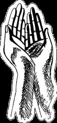Sketched Illustration Of Hands Praying Sticker
