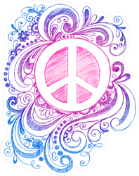 Sketchy Doodle Peace Sign Sticker