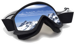 Ski Goggles With Realistic Reflection Of Mountains Sticker