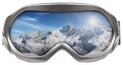 Ski Goggles With Reflection Of Mountains Sticker