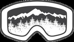 Ski Goggles With Winter Mountains Sticker