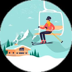 Ski Lift In The Mountains Skiing Sticker