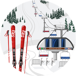 Ski Resort Vacation With Ski Lift Sticker